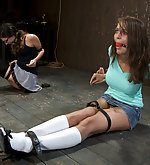 Two girls in intense bdsm live show