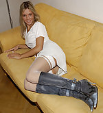Sandra in white stockings and boots
