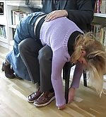 Blonde gets spanked by teacher