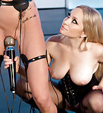 Pretty tied blond under electro-control