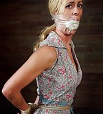 Roped and gagged with her dirty sock