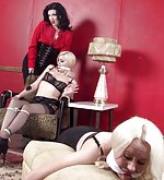 Two blondes roped and cleave-gagged