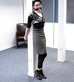 Office chick cuffed and cleave-gagged