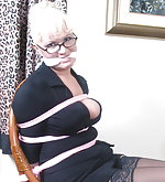 Secretary bound and gagged at her desk