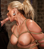 Busty blonde roped, face fucked and vibed