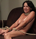 First time tied up, left alone, then made to cum