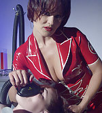Girl tied and examined by latex nurses
