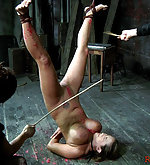 Suspended upside down, caned and waxed
