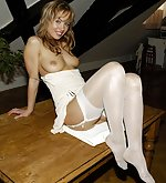 Pamela in sexy white stockings
