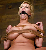 Carly stripped, roped, strapped and vibed