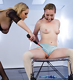 Tied and fucked by strap-on electrocock